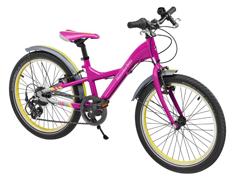 "Bicicleta copii varsta 6+, aluminiu, 28 cm, roz cu logo ""Mercedes Benz"" - Originala Mercedes"