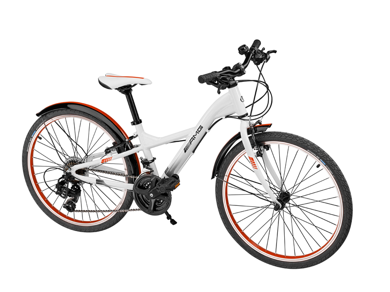 "Bicicleta copii varsta 8+, aluminiu, 31 cm, alba cu logo ""AMG"" - Originala Mercedes"